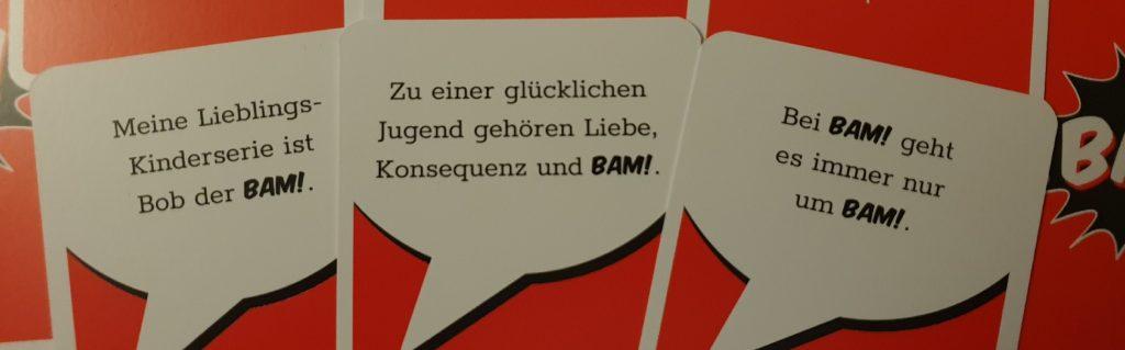 Drei mögliche Auswahlkarten die der BAM-Master in BAM! Ultra Schmutzig vorlesen könnte.