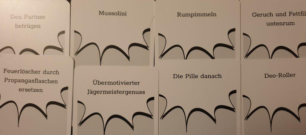 Eine Auswahl an möglichen Antwortkarten von BAM! Ultra Schmutzig