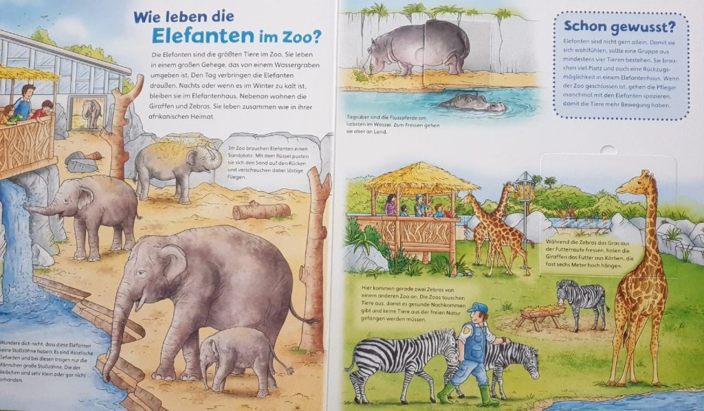 Eine Beispielseite aus dem Buch Was ist Was Junior - im Zoo