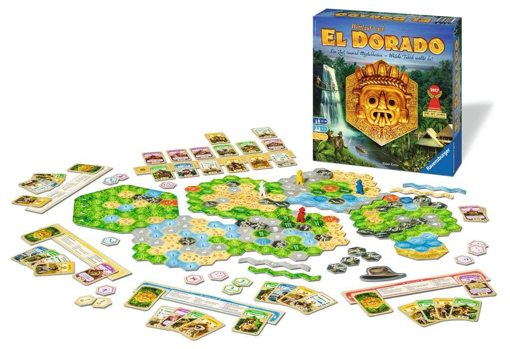 Das komplette Spielmaterial von Wettlauf nach El Dorado/ Foto von Ravensburger.de